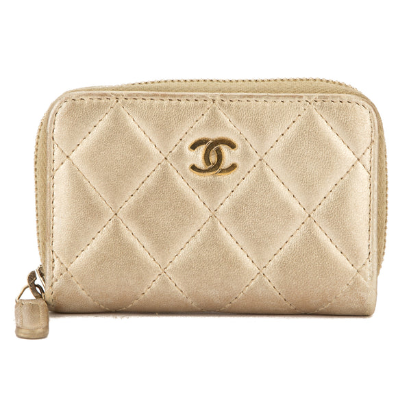 e82dca2dad37 Chanel Gold Quilted Lambskin Leather Zip Coin Purse (Pre Owned ...