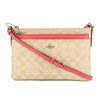 Coach Light Khaki Signature PVC and Strawberry Leather East/West Crossbody with Pop-Up Pouch (New with Tags)