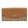 Coach Khaki Signature PVC and Saddle Leather Slim Envelope Wallet (New with Tags)
