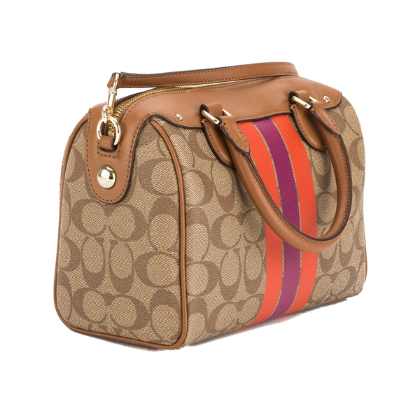Coach Khaki Signature PVC Canvas and Saddle Leather Varsity Stripe Mini Bennett Satchel (New with Tags)