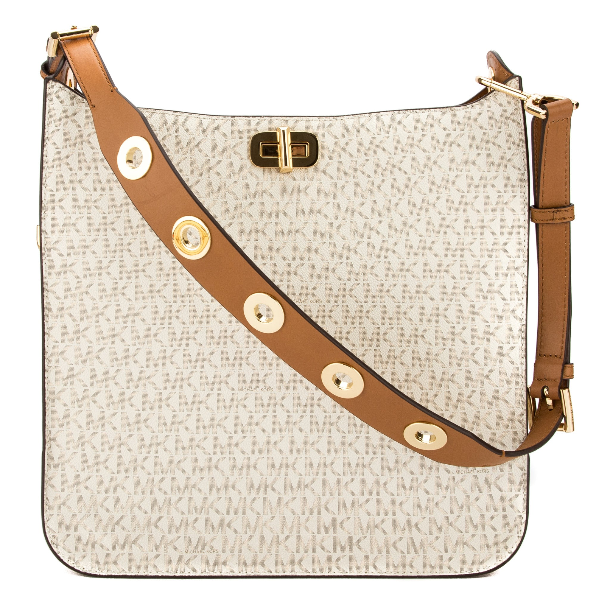 7502d3d90dde54 Michael Kors Vanilla Monogram Canvas Sullivan Large Logo Messenger New with  Tags