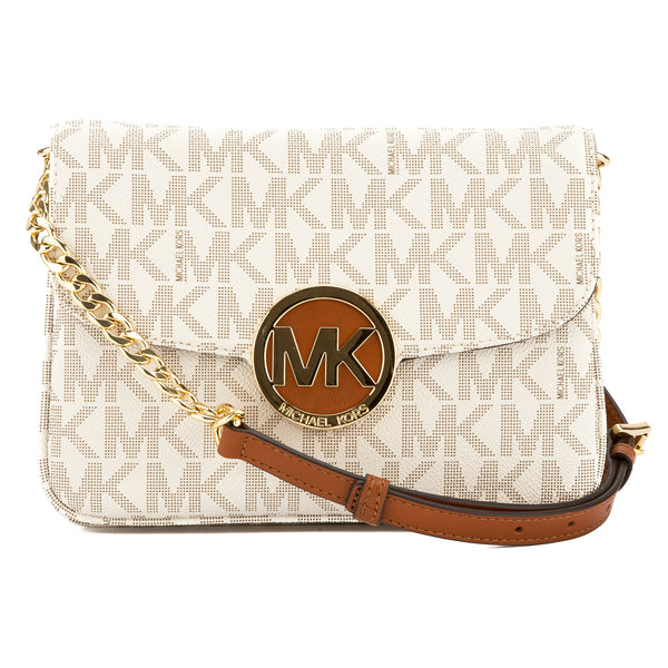 34ab41a33 Michael Kors Vanilla Signature Leather Fulton Flap Gusset Crossbody Bag New  with Tags