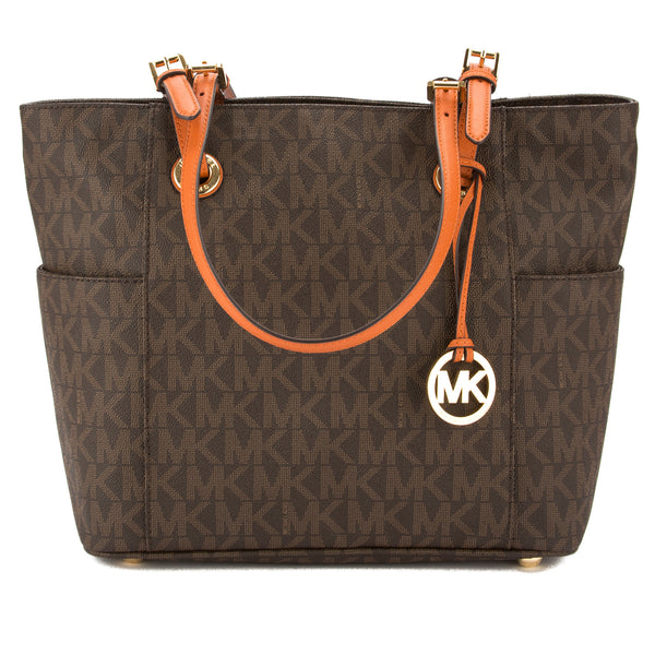 368feec3071a ... purchase michael kors dark brown signature canvas jet set logo east  west tote 3554005 luxedh 282eb