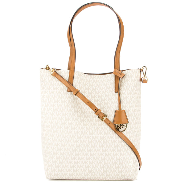 ab13b0797f88 Michael Kors Vanilla Signature Canvas Hayley Large North-South Tote New  with Tags