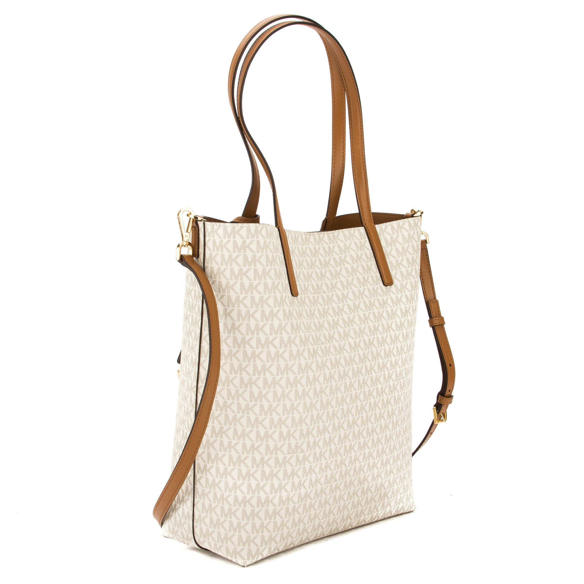 50aba0283884 Michael Kors Vanilla Signature Canvas Hayley Large North-South Tote (N -  3554007 | LuxeDH