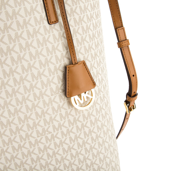 55847df74da2 ... Michael Kors Vanilla Signature Canvas Hayley Large North-South Tote  (New with Tags) ...