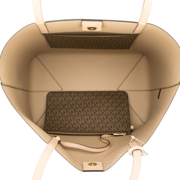 fee68b299e7d ... Michael Kors Mocha Signature Canvas Hayley Large East-West Tote (New  with Tags) ...
