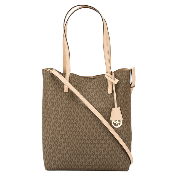 2cef916968de Michael Kors Mocha Signature Canvas Hayley Large North-South Tote New with  Tags