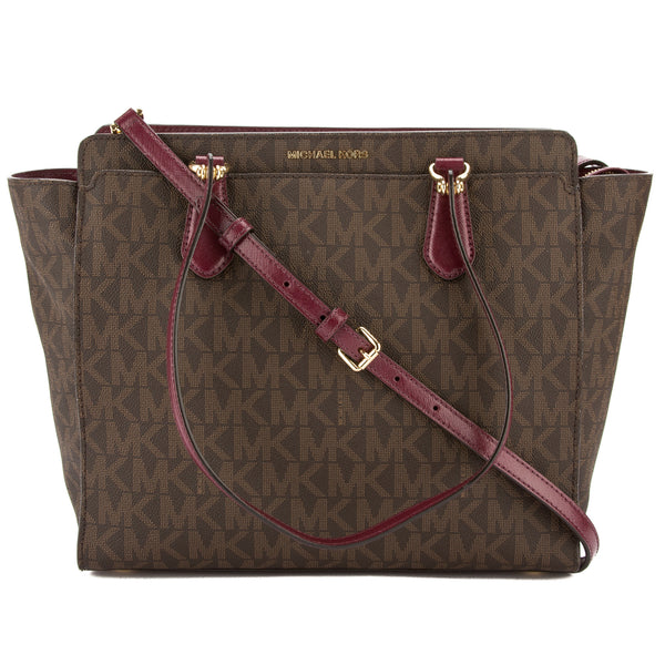 3ad8ec4820138c Michael Kors Brown Signature Canvas Dee Dee Large Convertible Tote New with  Tags