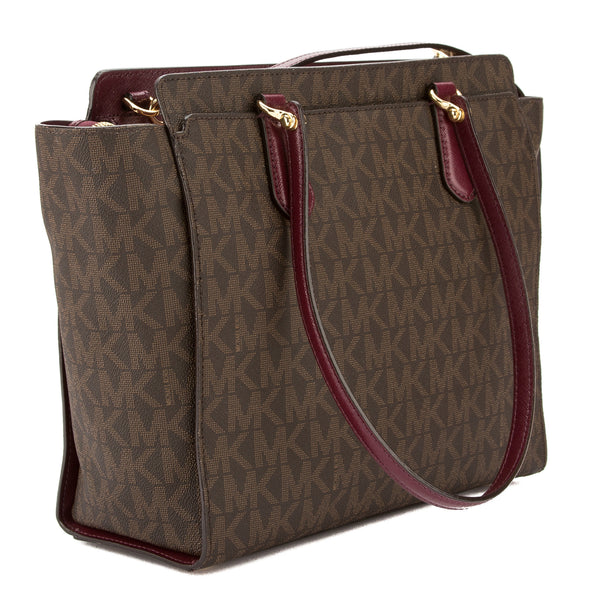 9adf65999eab ... Michael Kors Brown Signature Canvas Dee Dee Large Convertible Tote (New  with Tags) ...