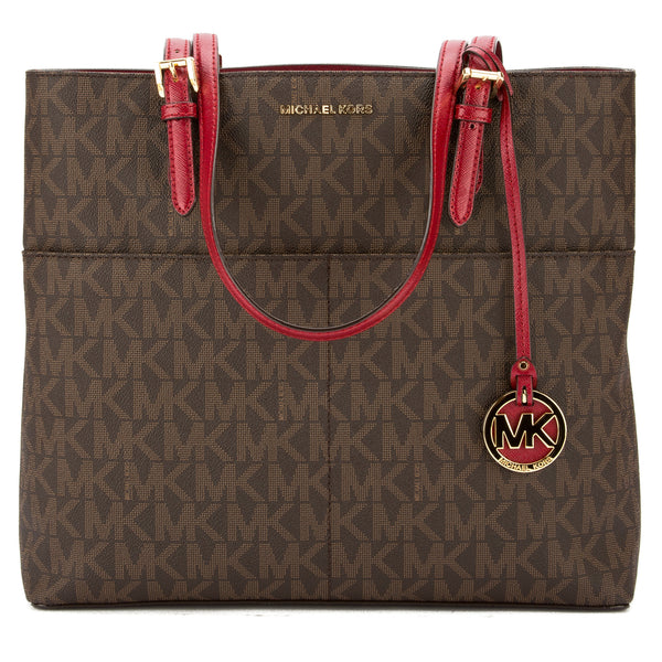 b51c9ff53a2edf Michael Kors Brown Signature Canvas Bedford Large Top Zip Tote New with Tags
