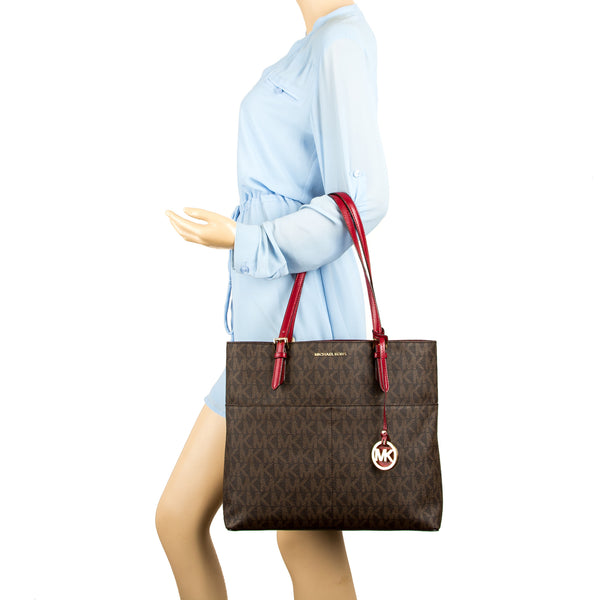 d94a6b3296e59c ... Michael Kors Brown Signature Canvas Bedford Large Top Zip Tote (New  with Tags)