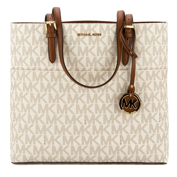 michael kors vanilla signature canvas bedford large top zip tote rh luxedh com