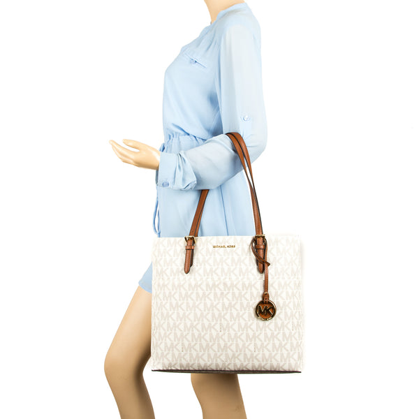 287c11d8919d9a ... Michael Kors Vanilla Signature Canvas Bedford Large Top Zip Tote (New  with Tags)