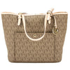 Michael Kors Mocha Signature Leather Jet Set Medium Snap Pocket Top Zip Tote (New with Tags)