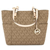 Michael Kors Mocha Signature Canvas Jet Set Logo East/West Tote (New with Tags)