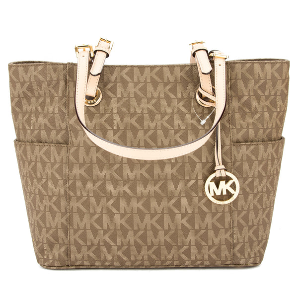 4f300a70c Michael Kors Mocha Signature Canvas Jet Set Logo East/West Tote New with  Tags