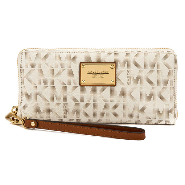2dcfd23cf7314 Michael Kors Vanilla Signature Canvas Jet Set Travel Continental Wallet New  with Tags