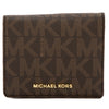 Michael Kors Brown Signature Canvas Jet Set Travel Logo Card Case (New with Tags)