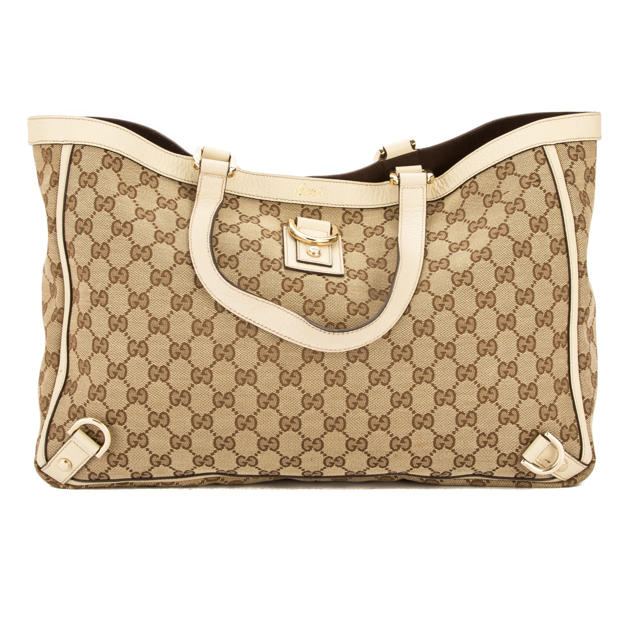 0501f76842df Gucci Ivory Leather GG Supreme Canvas Tote Bag (Pre Owned) - 3565003 ...