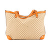 Gucci Orange Leather Brown Canvas Diamante Tote Bag (Pre Owned)
