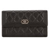 Chanel Black Quilted Lambskin Leather Boy Flap Wallet (Pre Owned)
