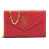 Saint Laurent Red Leather Matelasse Envelope Chain Wallet (New with Tags)