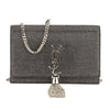 Saint Laurent Fog Crocodile Embossed Leather Kate Monogram Tassel Chain Wallet (New with Tags)