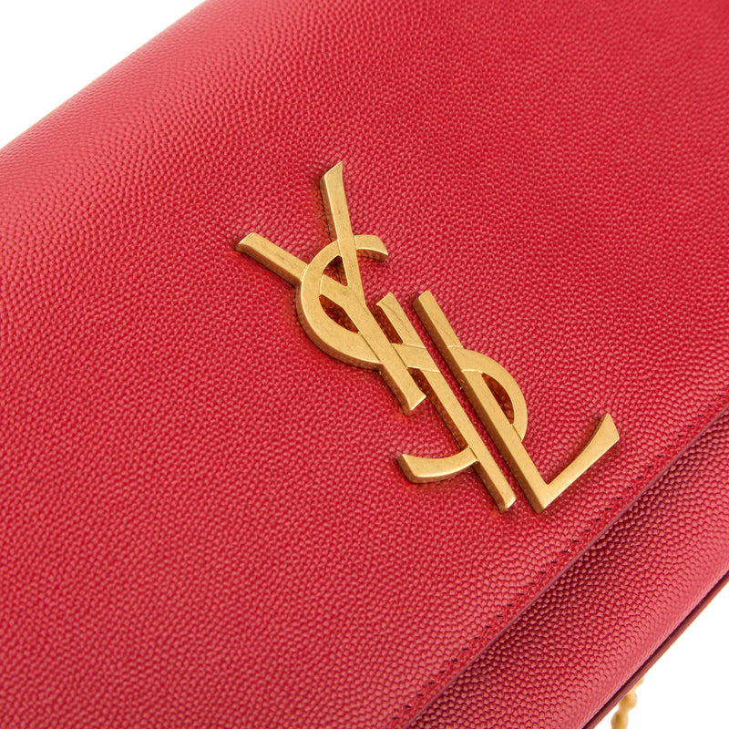 Saint Laurent Red Grained Leather Classic Medium Kate Monogram Bag (New with Tags)