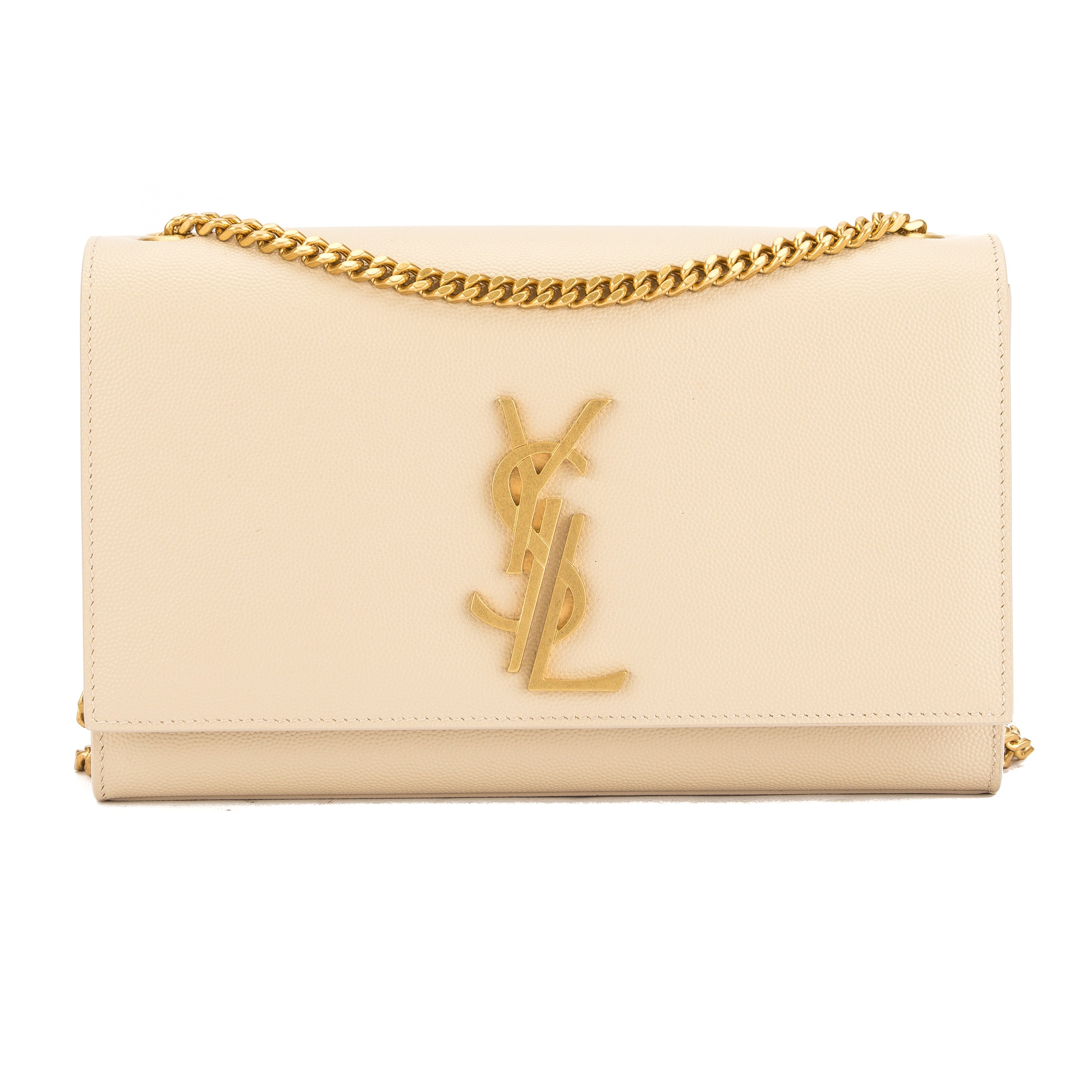 67188f661a13 Yves Saint Laurent Saint Laurent Dove White Grained Leather Classic Medium  Kate Monogram Bag New with Tags