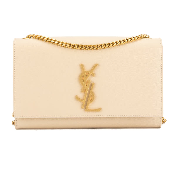 Saint Laurent Dove White Grained Leather Classic Medium Kate Monogram Bag (New with Tags)