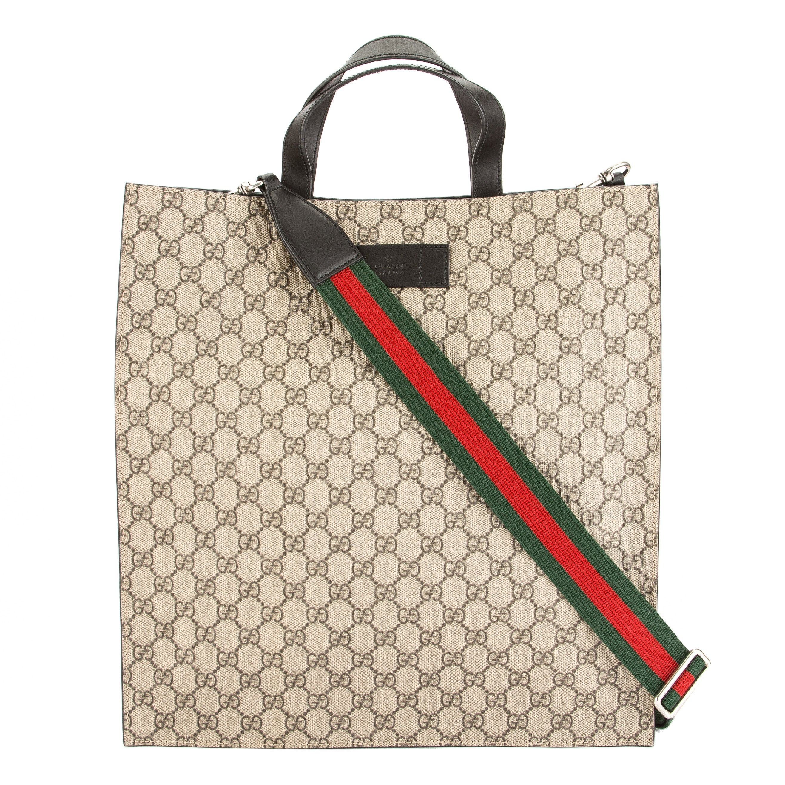 Gucci Brown Leather Soft Gg Supreme Canvas Tote New With Tags