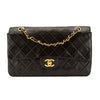 Chanel Black Quilted Lambskin Leather Medium Classic Flap Bag (Pre Owned)