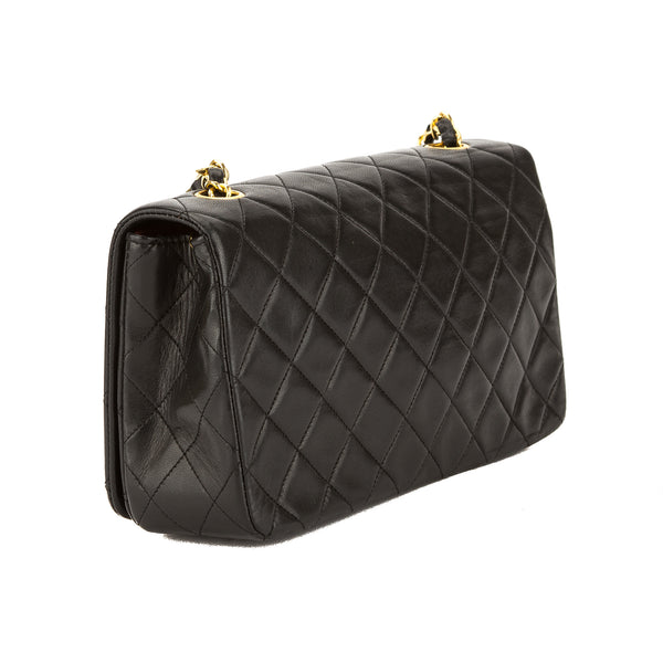 Chanel Black Quilted Lambskin Leather Small Single Flap Bag (Pre Owned)