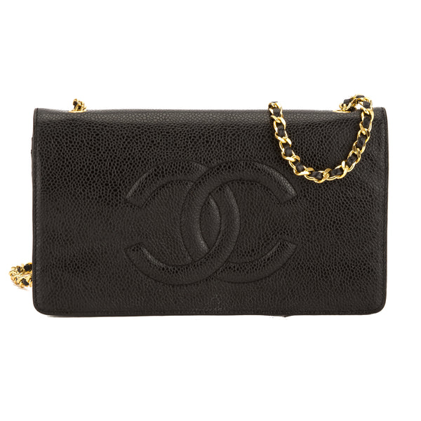 6655a481d8037e Chanel Black Caviar Leather Wallet On Chain WOC Bag (Pre Owned ...