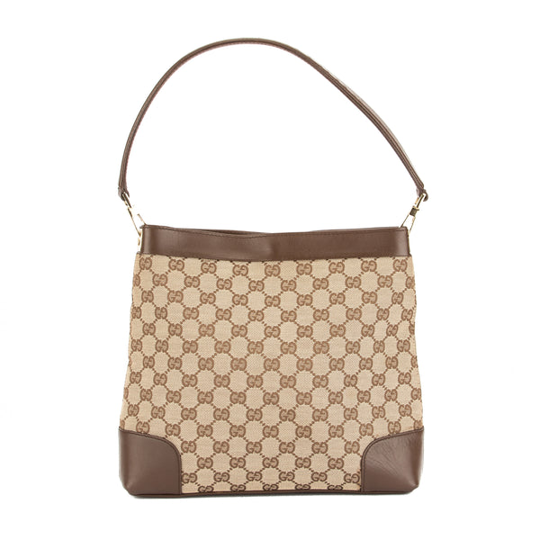 4dacb5855150 Gucci Brown Leather GG Supreme Canvas Shoulder Bag (Pre Owned ...