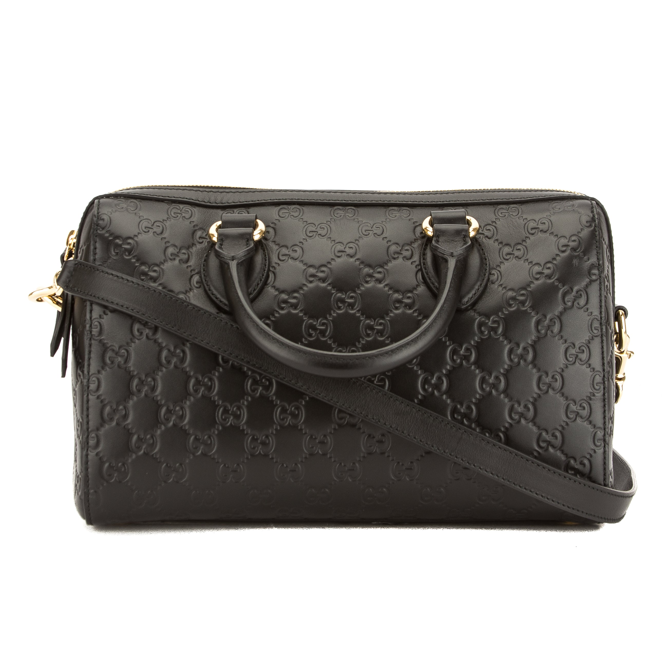5d8b0f3c2e12 Gucci Black Soft Signature Leather Top Handle Bag (New with Tags ...