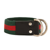 Gucci Green and Red Web Belt with D-Ring (New with Tags)