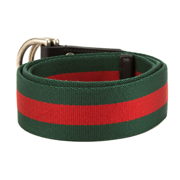 e9e7c1aeb4e Gucci Green and Red Web Belt with D-Ring (New with Tags) - 3594006 ...