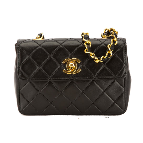 Chanel Black Quilted Lambskin Leather Square Extra Mini Flap Bag (Pre Owned)