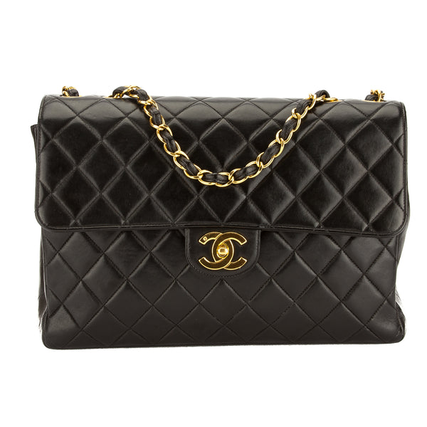 Chanel Black Quilted Lambskin Leather Jumbo Classic Flap Bag (Pre Owned)