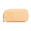 Chanel Beige Quilted Calfskin Leather Cambon Line Cosmetic Pouch (Pre Owned)
