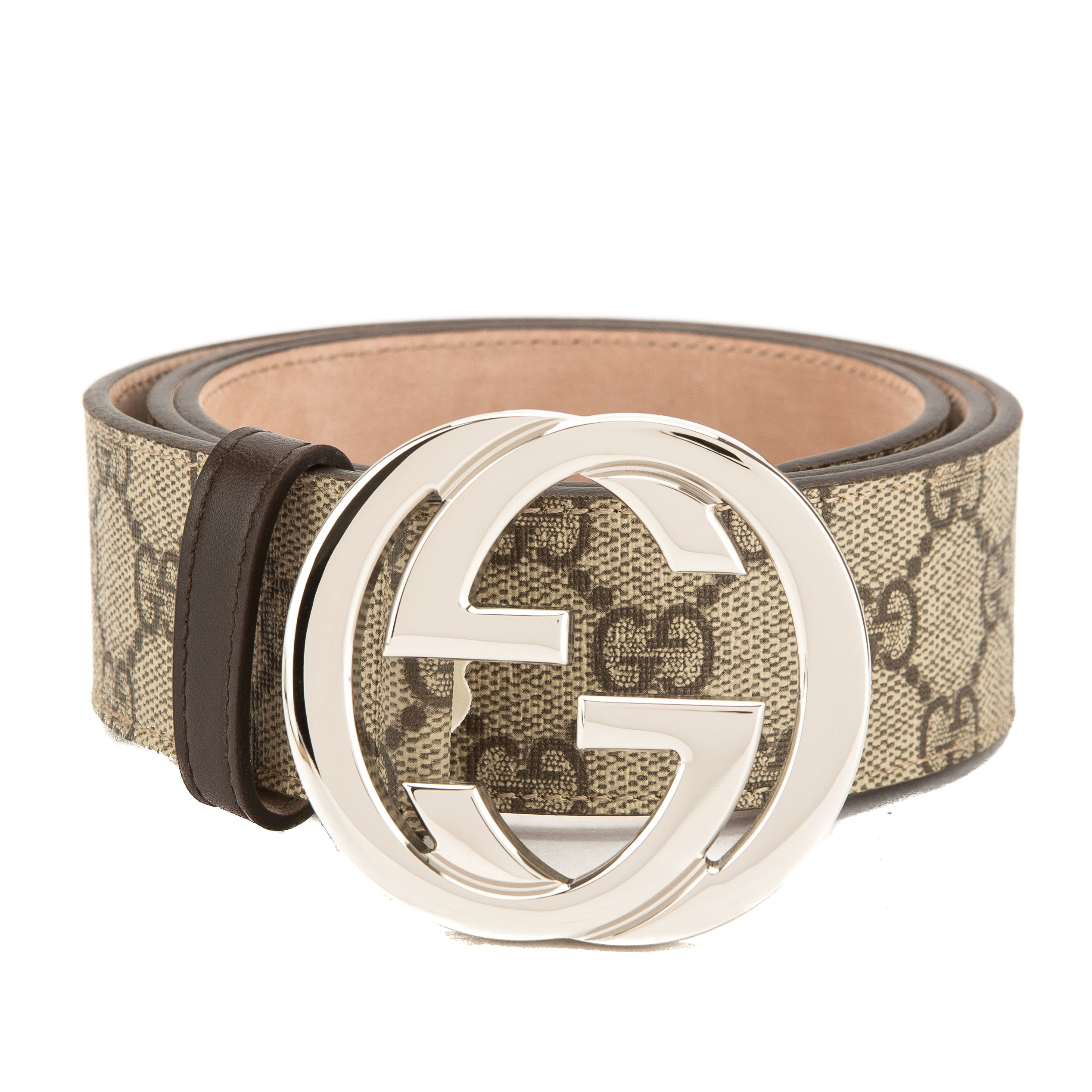 3d559e70a Gucci Brown Leather GG Supreme Interlocking G Belt (New with Tags ...