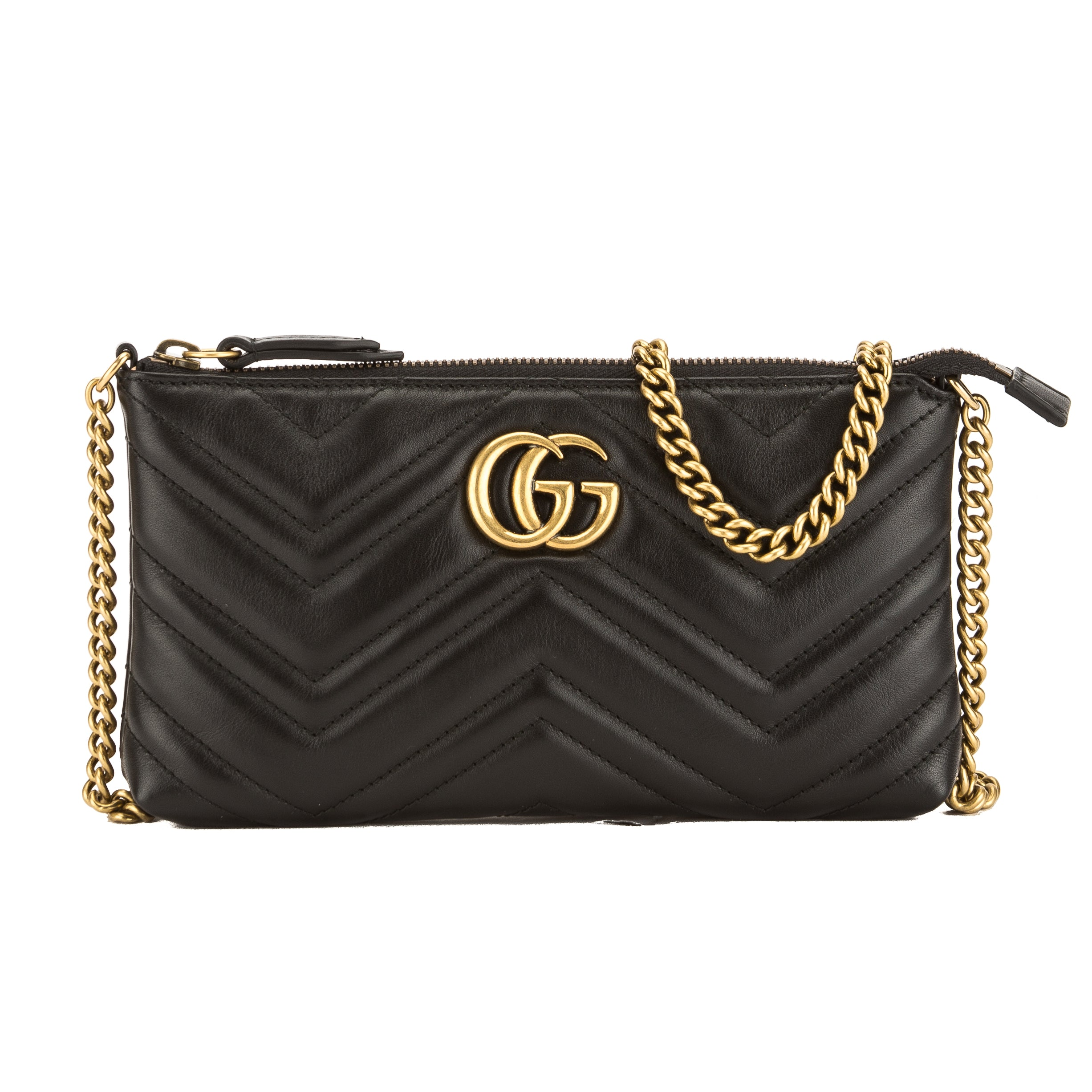 6208aded97b0 Gucci Black Leather GG Marmont Mini Chain Bag (New with Tags ...