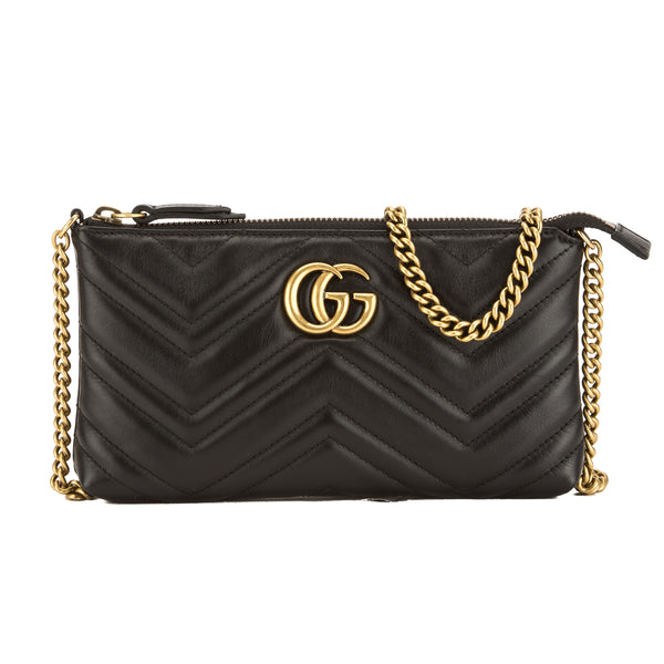 7502b5205f5 Gucci Black Leather GG Marmont Mini Chain Bag (New with Tags ...