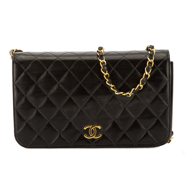 Chanel Black Quilted Lambskin Leather Chain Bag (Pre Owned)