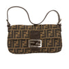Fendi Brown Leather Zucca Canvas Tote Bag (Pre Owned)