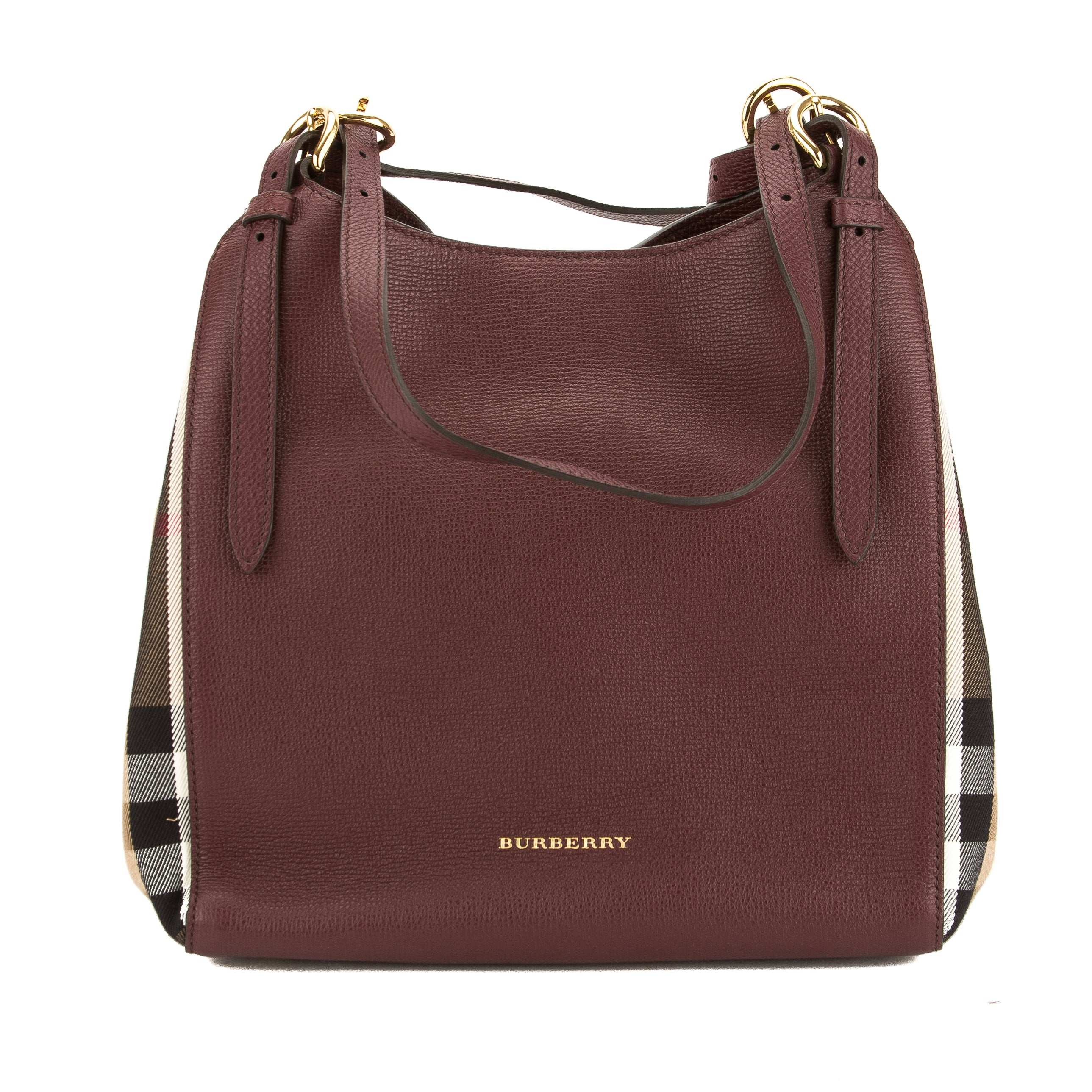 aa37f1e706cf Burberry Mahogany Red Leather and House Check Small Canter Bag New with Tags