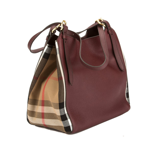 ec57597797 ... Burberry Mahogany Red Leather and House Check Small Canter Bag (New  with Tags) ...
