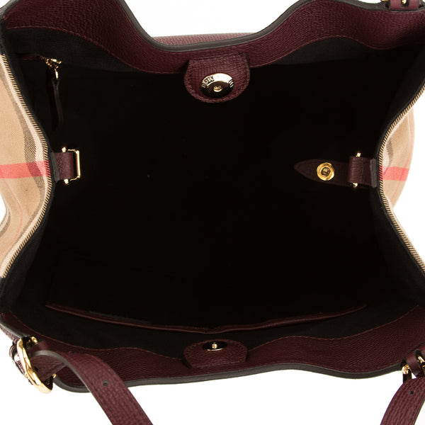 ba2dfd29ada0 Burberry Mahogany Red Leather and House Check Small Canter Bag New with Tags